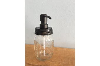 Ball Jar Soap Dispenser with Metal Black Pump and Black Lid - Clear Pint Mason Jar Soap Dispenser by Industrial Rewind