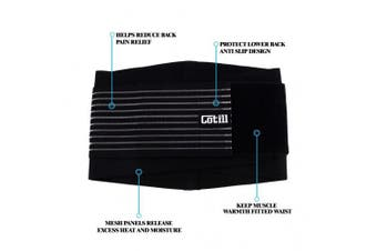 (S/M) - Cotill Lumbar Lower Back Brace and Support Belt By 8 stable Splints for Back Pain Relief - Dual Adjustable Straps and Breathable Mesh Panels