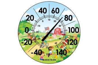 Marathon Housewares BA030002US 30cm Indoor/Outdoor Dial Thermometer- Barn Scene