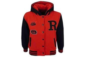 (9-10 Years, Red & Black) - Unisex Kids Girls Boys Baseball R Fashion Hooded Jacket Varsity Hoodie New Age 2 3 4 5 6 7 8 9 10 11 12 13 Years