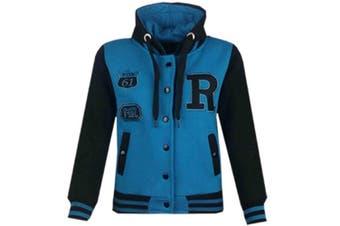 (5-6 Years, Turquoise & Black) - Unisex Kids Girls Boys Baseball R Fashion Hooded Jacket Varsity Hoodie New Age 2 3 4 5 6 7 8 9 10 11 12 13 Years