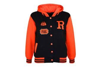 (13 Years, Black & Neon Orange) - Unisex Kids Girls Boys Baseball R Fashion Hooded Jacket Varsity Hoodie New Age 2 3 4 5 6 7 8 9 10 11 12 13 Years