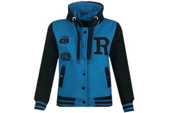 (13 Years, Turquoise & Black) - Unisex Kids Girls Boys Baseball R Fashion Hooded Jacket Varsity Hoodie New Age 2 3 4 5 6 7 8 9 10 11 12 13 Years