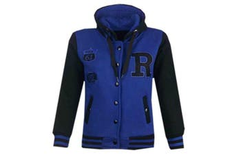 (9-10 Years, Royal Blue & Black) - Unisex Kids Girls Boys Baseball R Fashion Hooded Jacket Varsity Hoodie New Age 2 3 4 5 6 7 8 9 10 11 12 13 Years