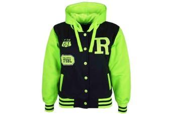 (11-12 Years, Black & Neon Green) - Unisex Kids Girls Boys Baseball R Fashion Hooded Jacket Varsity Hoodie New Age 2 3 4 5 6 7 8 9 10 11 12 13 Years