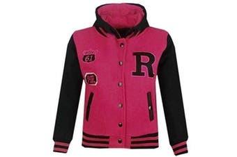 (7-8 Years, Cerise & Black) - Unisex Kids Girls Boys Baseball R Fashion Hooded Jacket Varsity Hoodie New Age 2 3 4 5 6 7 8 9 10 11 12 13 Years