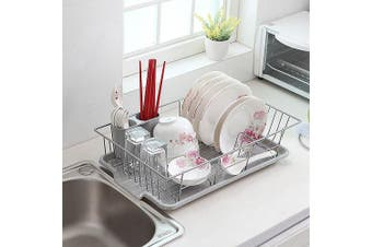Basicwise Stainless Steel Dish Rack with Plastic Drain board, , Grey