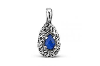 (Blue Lapis) - Carolyn Pollack Sterling Silver Blue Lapis, Turquoise or White Mother of Pearl Gemstone Doublet Pendant Enhancer