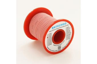 BNTECHGO 16 Gauge Silicone Wire Spool Pink 7.6m Ultra Flexible High Temp 200 deg C 600V 16 AWG Silicone Rubber Wire 252 Strands of Tinned Copper Wire Stranded Wire for Model Battery Low Impedance