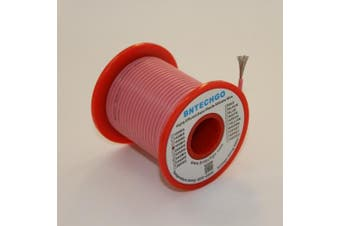 BNTECHGO 18 Gauge Silicone Wire Spool Pink 15m Ultra Flexible High Temp 200 deg C 600V 18AWG Silicone Rubber Wire 150 Strands of Tinned Copper Wire Stranded Wire for Model Battery Low Impedance