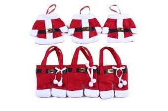 (Red) - Santa Suit Christmas Silverware Holders,6Pcs Set