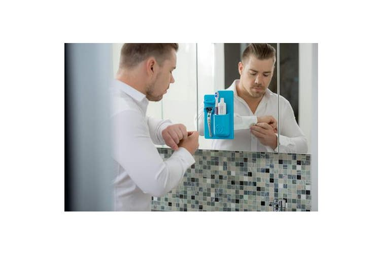 (Blue, 21 x 14 x 4 cm) - Tooletries Mighty Toothbrush Holder, Blue
