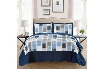 (Full/Queen, Navy Blue Stripes Squares Plaid) - Fancy Collection 3pc Bedspread Bed Cover White Navy Squares Full/Queen Over size 250cm x 270cm