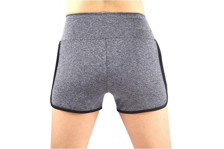 (X-Large, Grey/Black) - Neonysweets Womens Yoga Shorts Fitness Gym Workout Short Pants