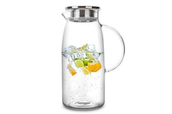 (1770mls) - 1770mls Glass Pitcher with Lid, Hot/Cold Water Jug, Juice and Iced Tea Beverage Carafe