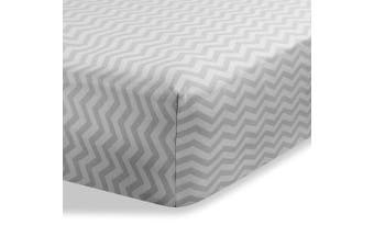 (Zigzag Grey) - Bassinet sheets for Baby / Infant Deep Fitted Soft Jersey Knit by Abstract 41cm x 80cm (Zigzag Grey)