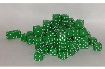 (Green) - 100 x 7mm opaque Plastic dice (Green) by Bulk Dice