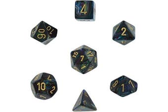 Polyhedral Dice, Lustrous Shadow w/ Gold 7-Die Set CHX 27499 by Chessex