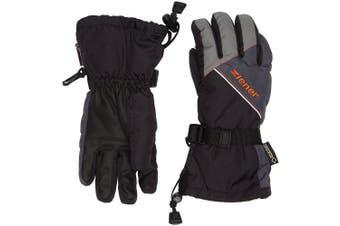 (FR : L (Taille Fabricant : 6), Black/Graphite) - Ziener Waterproof Lowis GTX Kids' Outdoor Ski Gloves