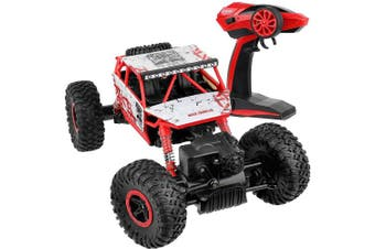 (Red) - Click N Play Rock Crawler RC Car Red Vehicle