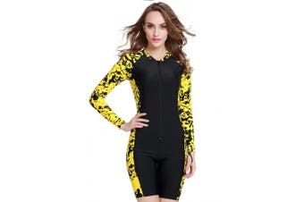 (Black Yellow, Asian S = UK XS) - Cokar Short Sleeve One Piece Swimwear Swimsuit