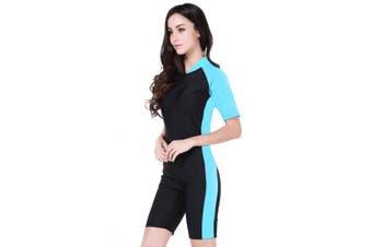 (Light Blue, Asian S = UK XS) - Cokar Short Sleeve One Piece Swimwear Swimsuit