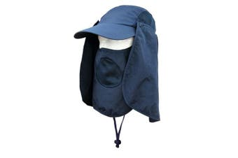 (Royal Blue) - Unisex Outdoor Folding Legionnaire Hat Fully Sun Protection Fishing Hunting Cap with Flap Detachable Breathable Sun Neck Protector UPF 50+