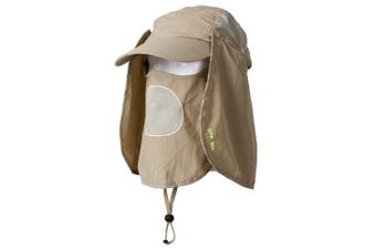 (Khaki) - Unisex Outdoor Folding Legionnaire Hat Fully Sun Protection Fishing Hunting Cap with Flap Detachable Breathable Sun Neck Protector UPF 50+