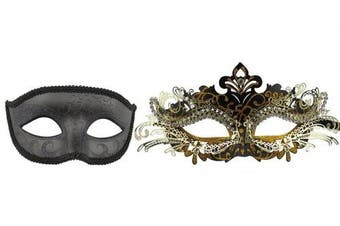 (Black-6) - Couple Masquerade Metal Masks Venetian Halloween Costume Mask Mardi Gras Mask
