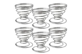 (06-part - Spiral) - COM-FOUR® Set of 6 Egg Cup Wire Spiral, Egg Holder Chromed (06-Part - Spiral)