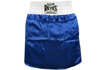 (Small) - Cleto Reyes Women's Satin Boxing Skirt Trunks - Blue/White
