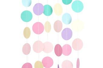 (1, Pastel) - Chloe Elizabeth Circle Dots Paper Party Garland Streamer Backdrop (3m Long) - Unicorn Pastel