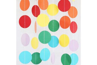 (1, Rainbow) - Chloe Elizabeth Circle Dots Paper Party Garland Streamer Backdrop (3m Long) - Circus Rainbow