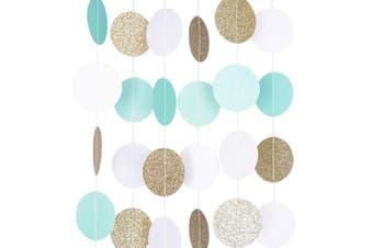 (1, Mint, White, Gold Glitter) - Circle Dots Paper Party Garland Streamer Backdrop (3m Long) - Mint, White, Gold Glitter