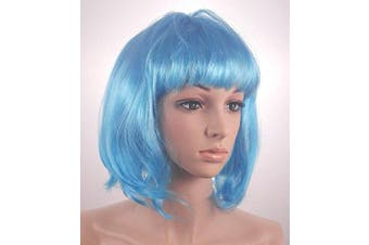 Fashionable Pretty Short blue Bob Babe Wig Girls Ladies 20s 60s 70s 80s 90s Fancy Dress Party Cosplay Hairstyle