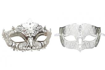 (Sliver) - Couple's Venetian Masquerade Mask Set Luxury Style Princess Party Mask
