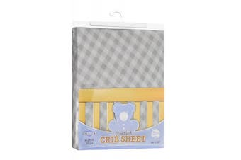 (70cm  x 130cm  (STANDARD CRIB), Checked Grey) - Fitted Knit Crib Sheet - Best Crib Sheet for Baby - Infant | Toddler 100% Cotton Jersey Knit Deep Fitted Bed Sheet (70cm x 130cm (STANDARD CRIB), Checked Grey)