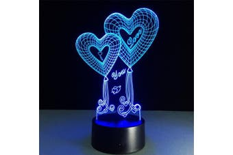 ATD® Double Heart Balloon I LOVE YOU 3D Optical Illusion Touch Botton 7 Colour Changing LED Night Light Desk Lamp,Romantic Gift for Lover,Wife,Boyfriend or Girlfriend