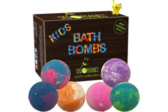 (Kids Set) - Kids Bath Bombs Gift Set with Surprise Toys, 6x150ml Fun Assorted Coloured XL Bath Bombs, Kid Safe, Gender Neutral with Organic Essential Oils –Handmade in the USA Organic Bubble Bath Fizzy