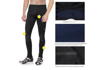 (Small, Nylon Knee-black) - BALEAF Men's Cycling Tights Thermal Fleece Athletic Pants Compression Tights Leggings for Bike