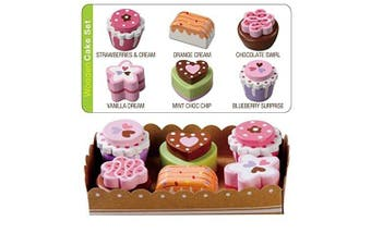 Wooden Tea Party Cakes With Selection Card and Sturdy Cardboard Serving Tray by Bee Smart