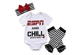 (0-6 Months, Espn and Chill With My Daddy) - Baby Girls ESPN and Chill with My Daddy Bodysuit and Socks Outfit with Headband