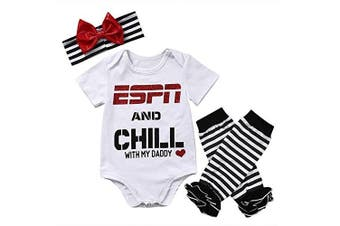 (12-18 Months, Espn and Chill With My Daddy) - Baby Girls ESPN and Chill with My Daddy Bodysuit and Socks Outfit with Headband