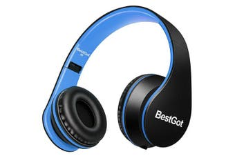 (Black/Blue) - [Upgraded version] BestGot Headphones with microphone In-line Volume, Included Transport Waterproof Bag , Foldable Headset with 3.5mm plug removable cord (Black/Blue)