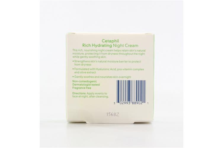 (1 Jar) - Cetaphil Rich Hydrating Night Cream with Hyaluronic Acid, 50ml