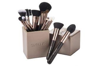(coffee) - 70% SALE!SIXPLUS 15pcs Coffee Makeup Brush Set with Makeup Holder (coffee)