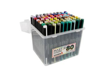 80 Colour Master Markers Primary Tones Dual Tips, Set A - Double-Ended Art Markers with Chisel Point and Brush Tip - Soft Grip Barrels, Storage Case - Draw, Sketch, Shade, Illustrate, Render, Manga