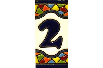 """(NUMBER TWO """"2"""") - Handpainted polichrome ceramic tiles. letters and numbers handpainted using dry rope technique perfect to create signs,addresses and names. Design MOSAICO MINI 7.3cm x 3.5cm"""