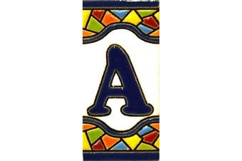 """(LETTER """"A"""") - Handpainted polichrome ceramic tiles. letters and numbers handpainted using dry rope technique perfect to create signs,addresses and names. Make your own composition. Design MOSAICO MINI 7.3cm x 3.5cm (LETTER A)"""