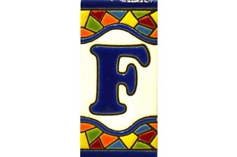 """(LETTER """"F"""") - Handpainted polichrome ceramic tiles. letters and numbers handpainted using dry rope technique perfect to create signs,addresses and names. Make your own composition. Design MOSAICO MINI 7.3cm x 3.5cm (LETTER F)"""